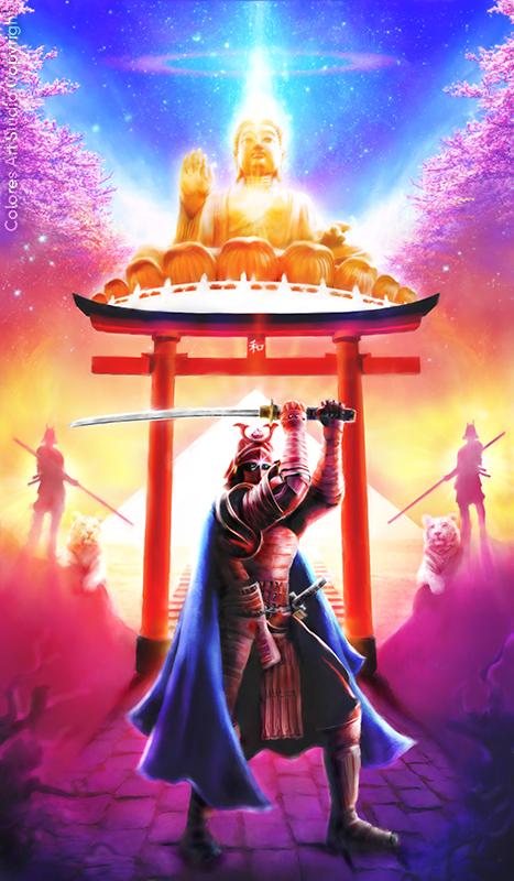 Samurai e do Buddha dourado - canvas - copyrigt