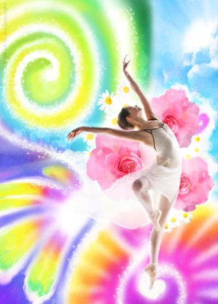Bailarinas que bailam ao vento - copyright
